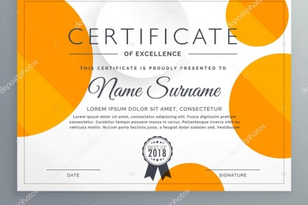 modern certificate template design with orange and white circles     Modern certificate template design with orange and white circles     Stock  Vector