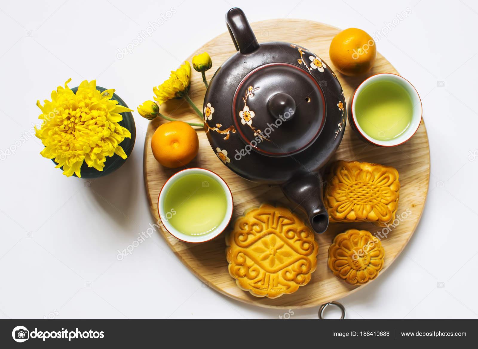 Moon Cake Tea Chinese Mid Autumn Festival Isolated White