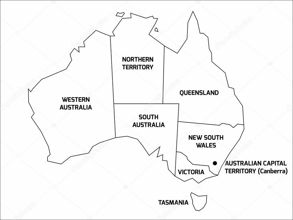 Mapa Simplificado De Australia Se Divide En Estados Y