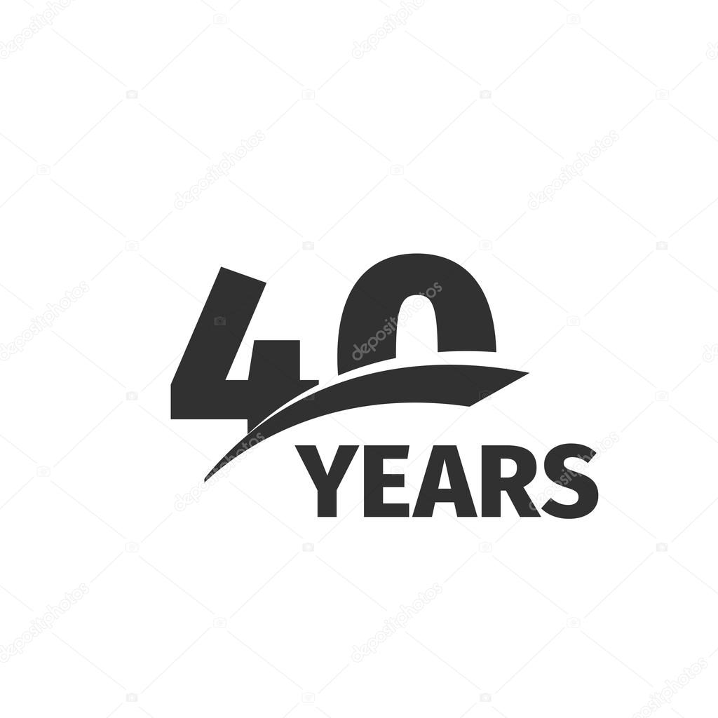 Isolated Abstract Black 40th Anniversary Logo On White