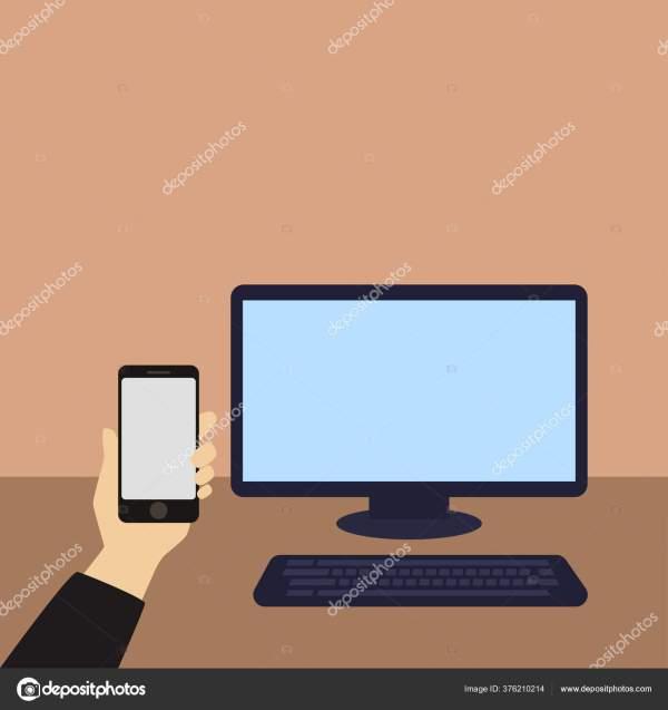 Рука Телефоном Заднем Плане Экрана Компьютера — Стоковое ...