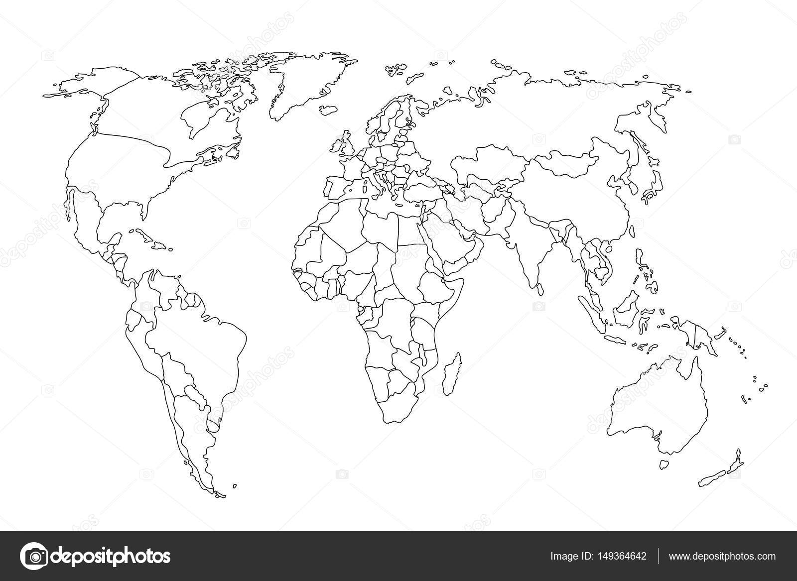 Political Map World World Map Outline Gray World Map
