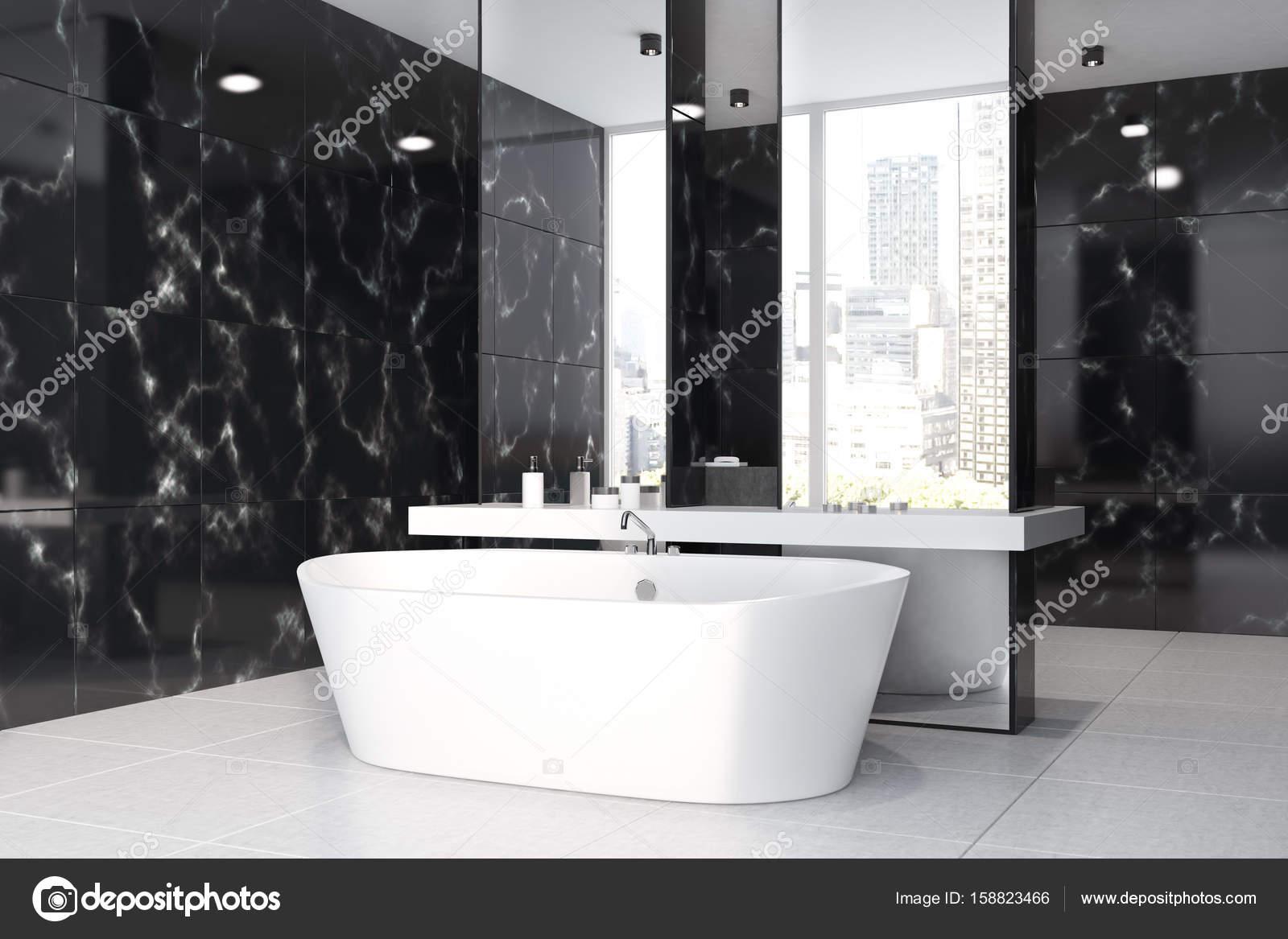 Black Marble Bathroom Sink Tub Side Stock Photo