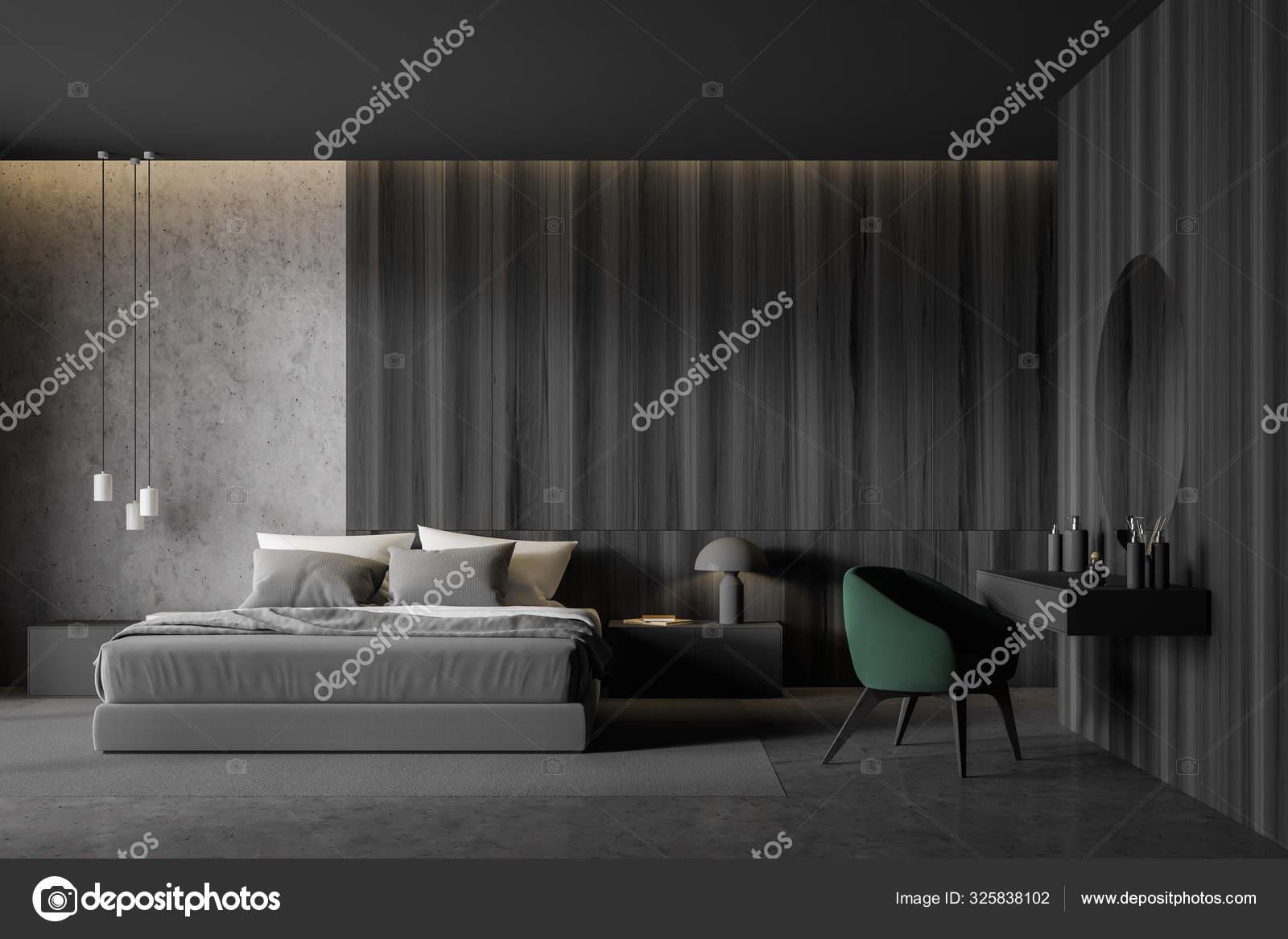 https depositphotos com 325838102 stock photo concrete and dark wood bedroom html