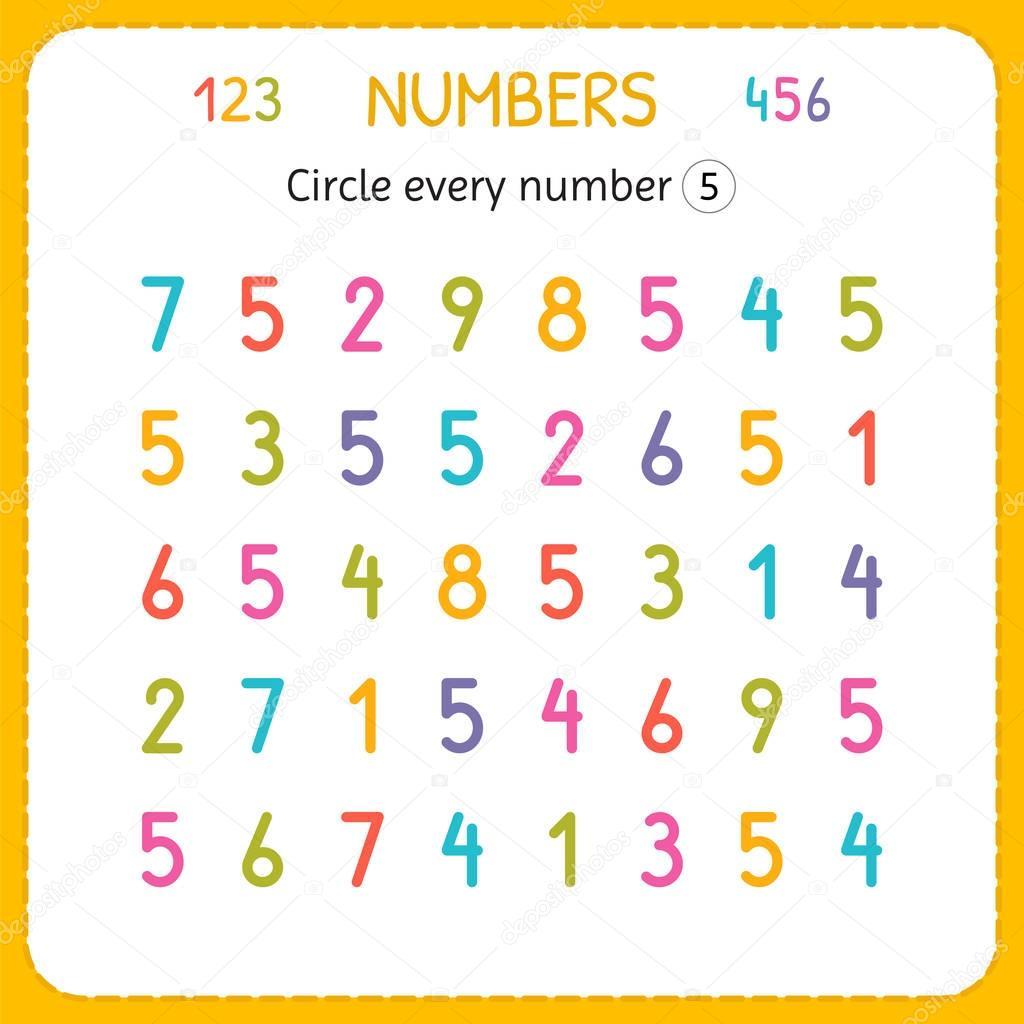 Circulo Cada Numero Cinco Numeros Para Ninos Hoja De