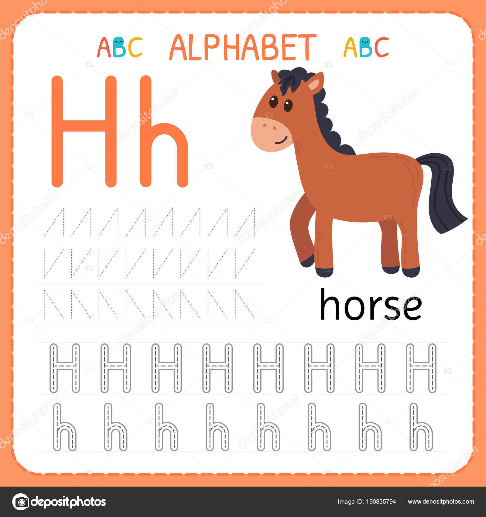 Alphabet Tracing Worksheet For Preschool And Kindergarten Writing Practice Letter H Exercises