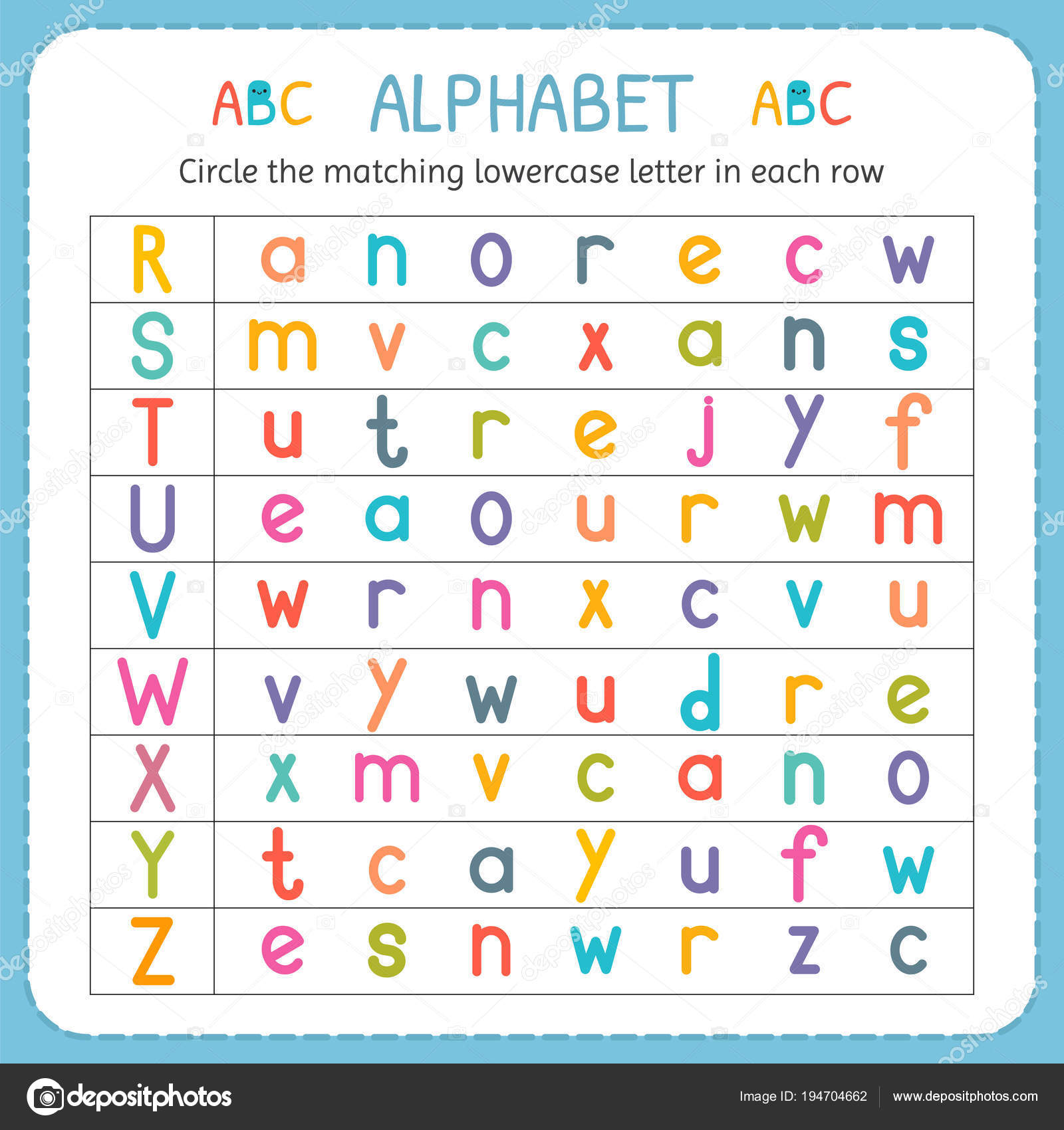 Circle The Matching Lowercase Letter In Each Row From R