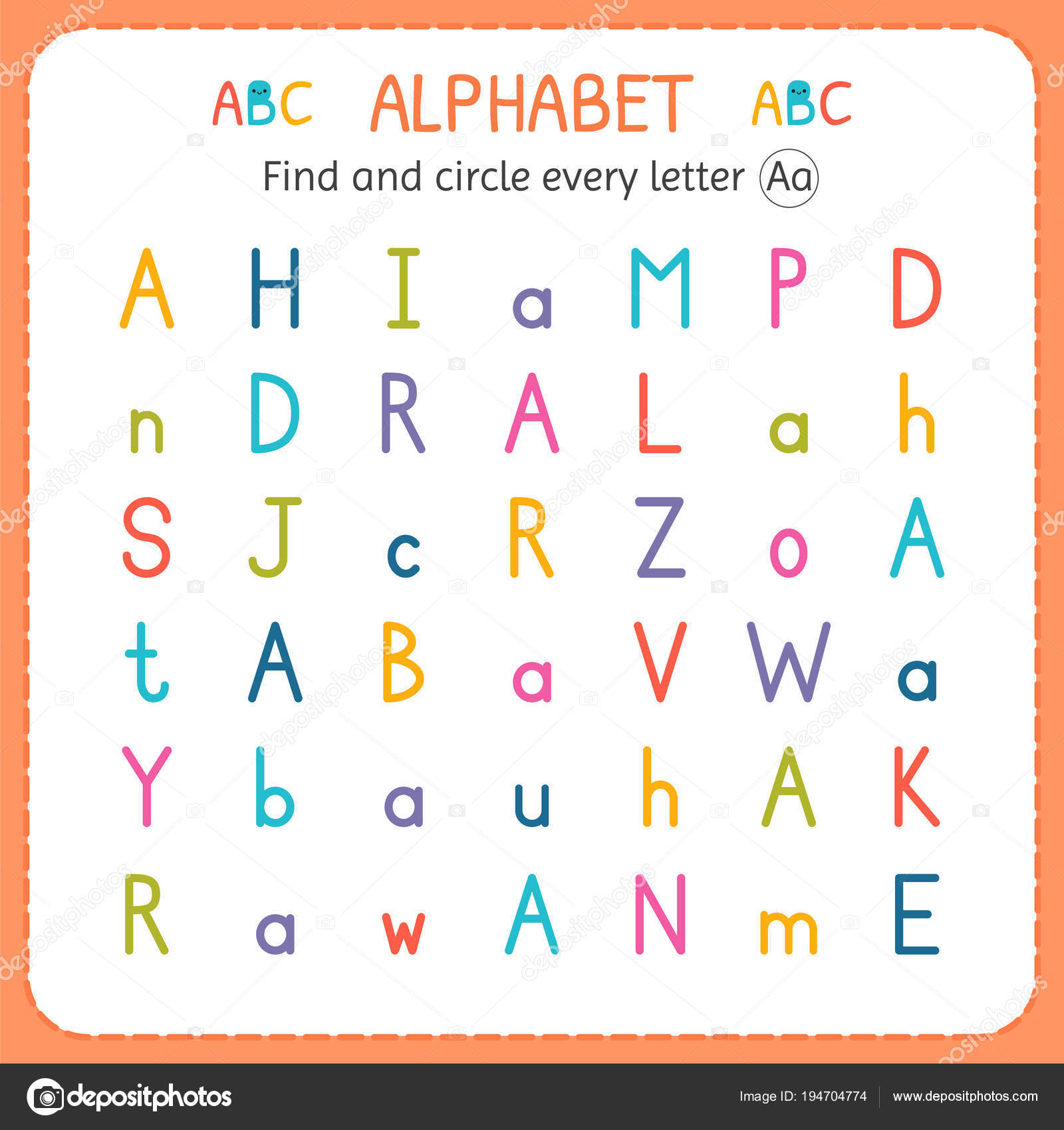 Vinden En Elke Letter A Werkblad Voor Kleuter En Voorschoolse Cirkel Oefeningen Voor Kinderen