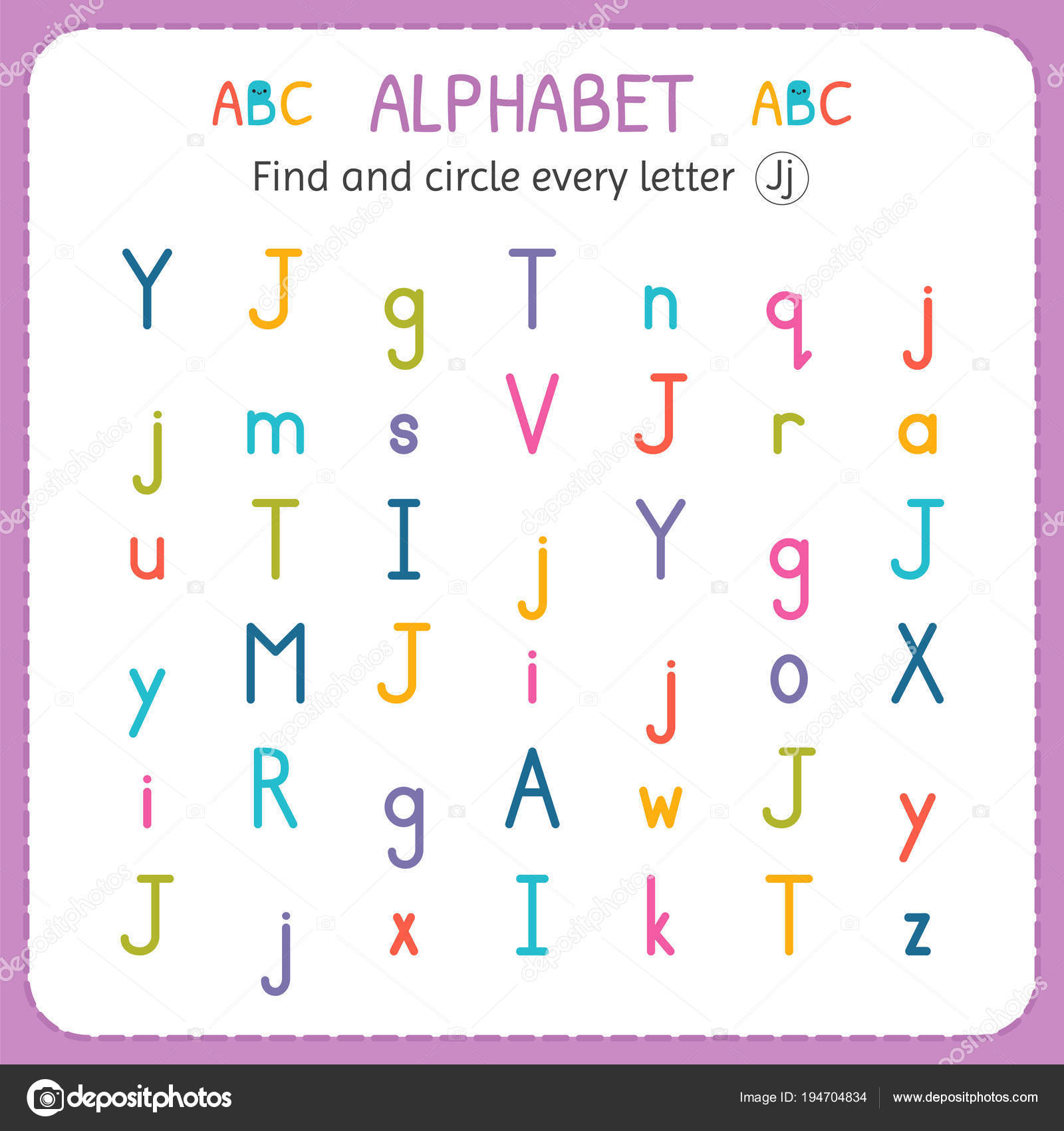 Find And Circle Every Letter J Worksheet For Kindergarten And Preschool Exercises For Children