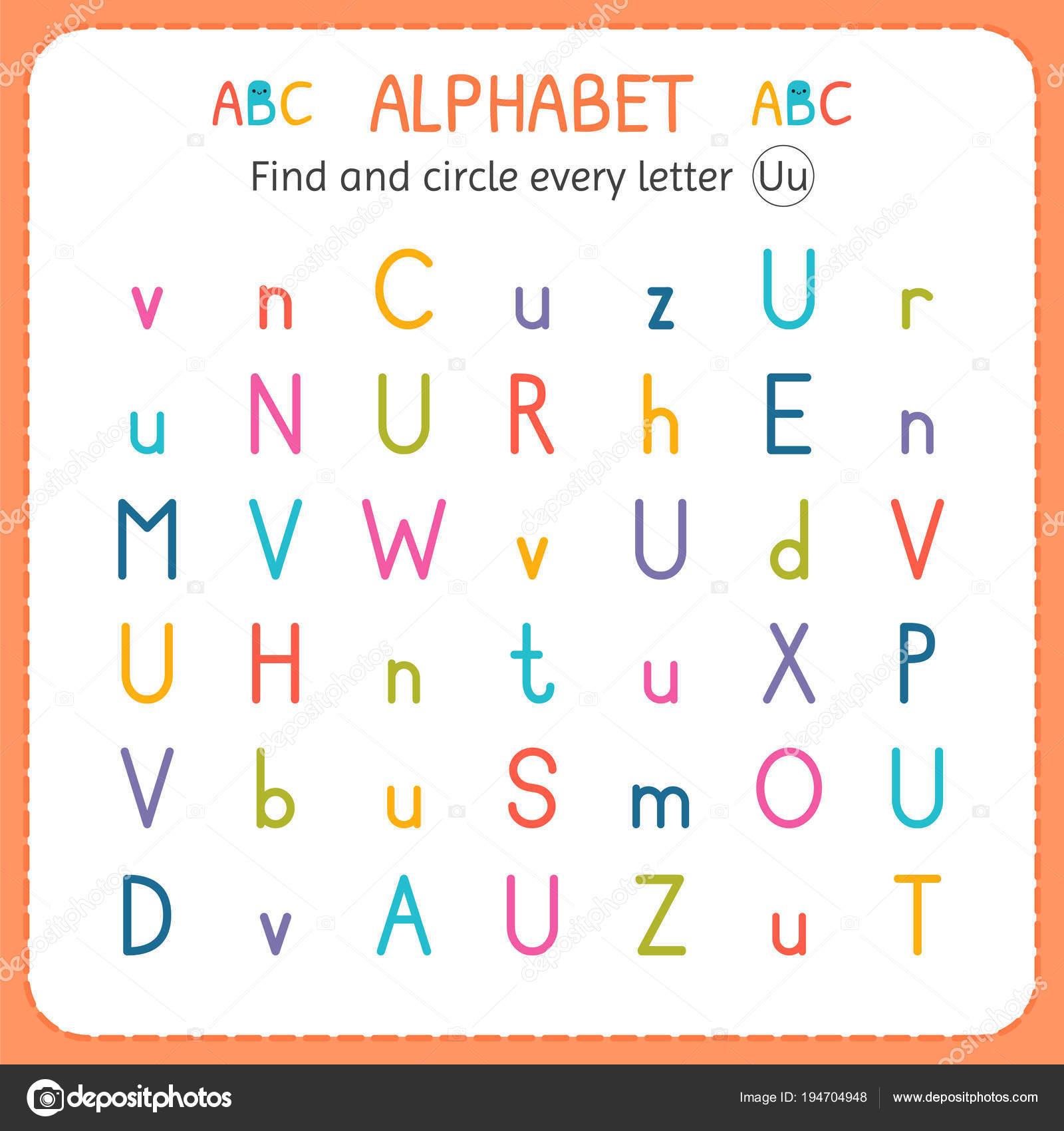 Find And Circle Every Letter U Worksheet For Kindergarten
