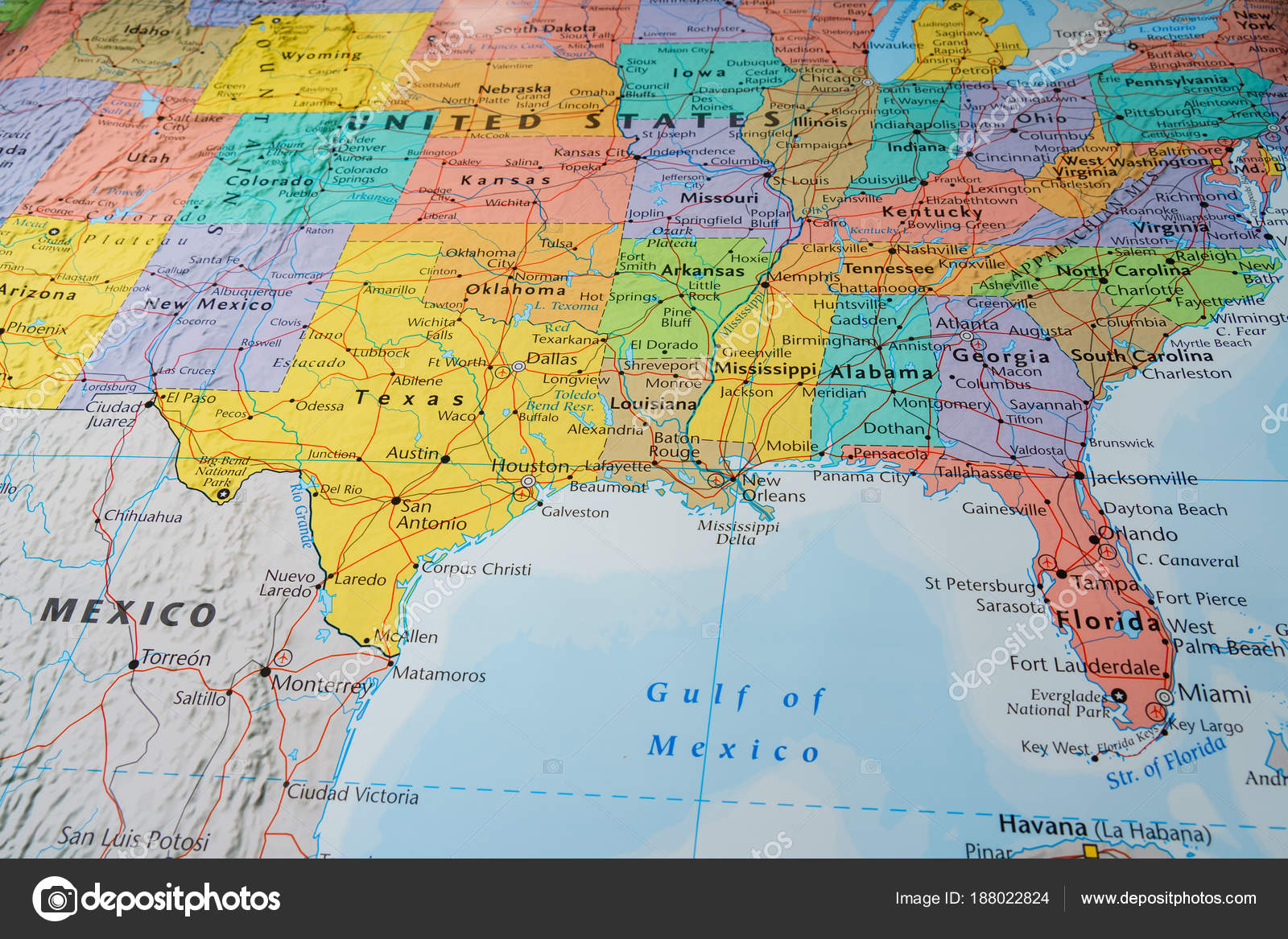South Usa States Map Stock Photo C Aallm 188022824
