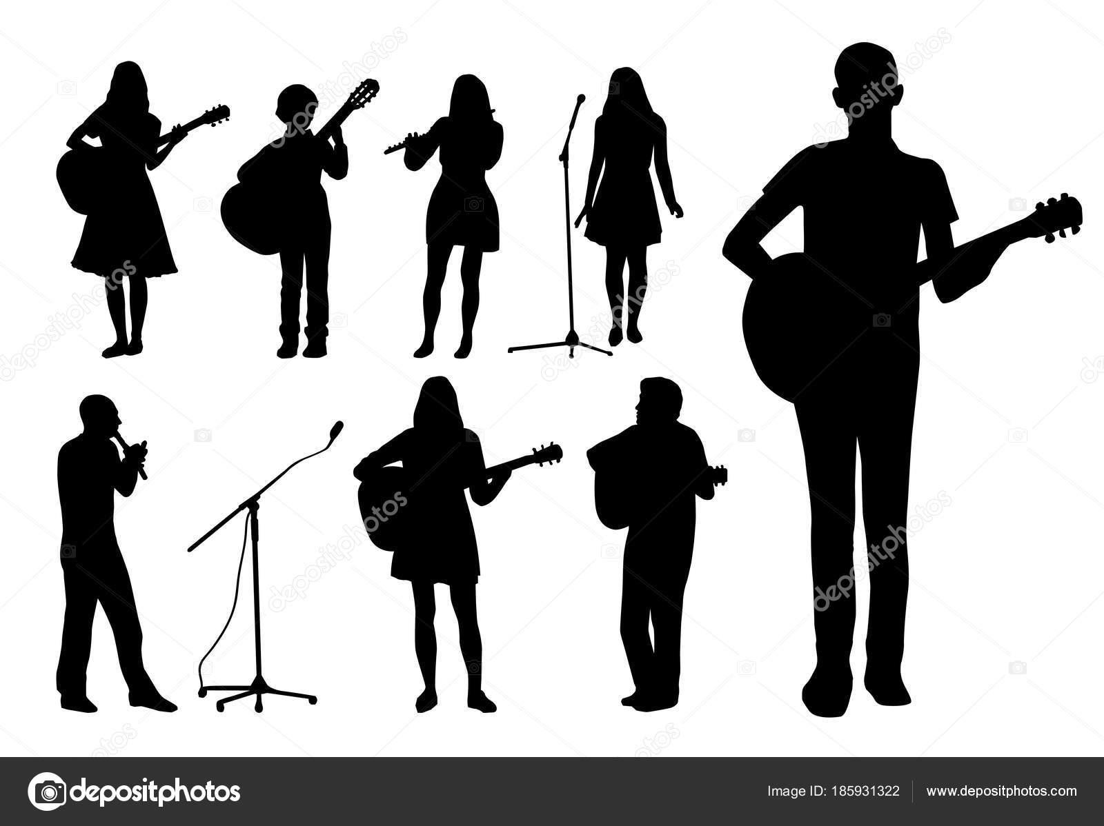 Silhuetas Pessoas Cantando Tocando Guitarra Isolada Fundo