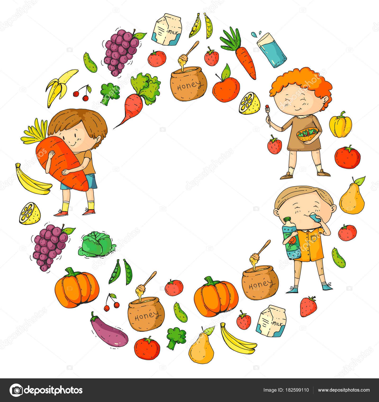 Children School And Kindergarten Healthy Food And Drinks