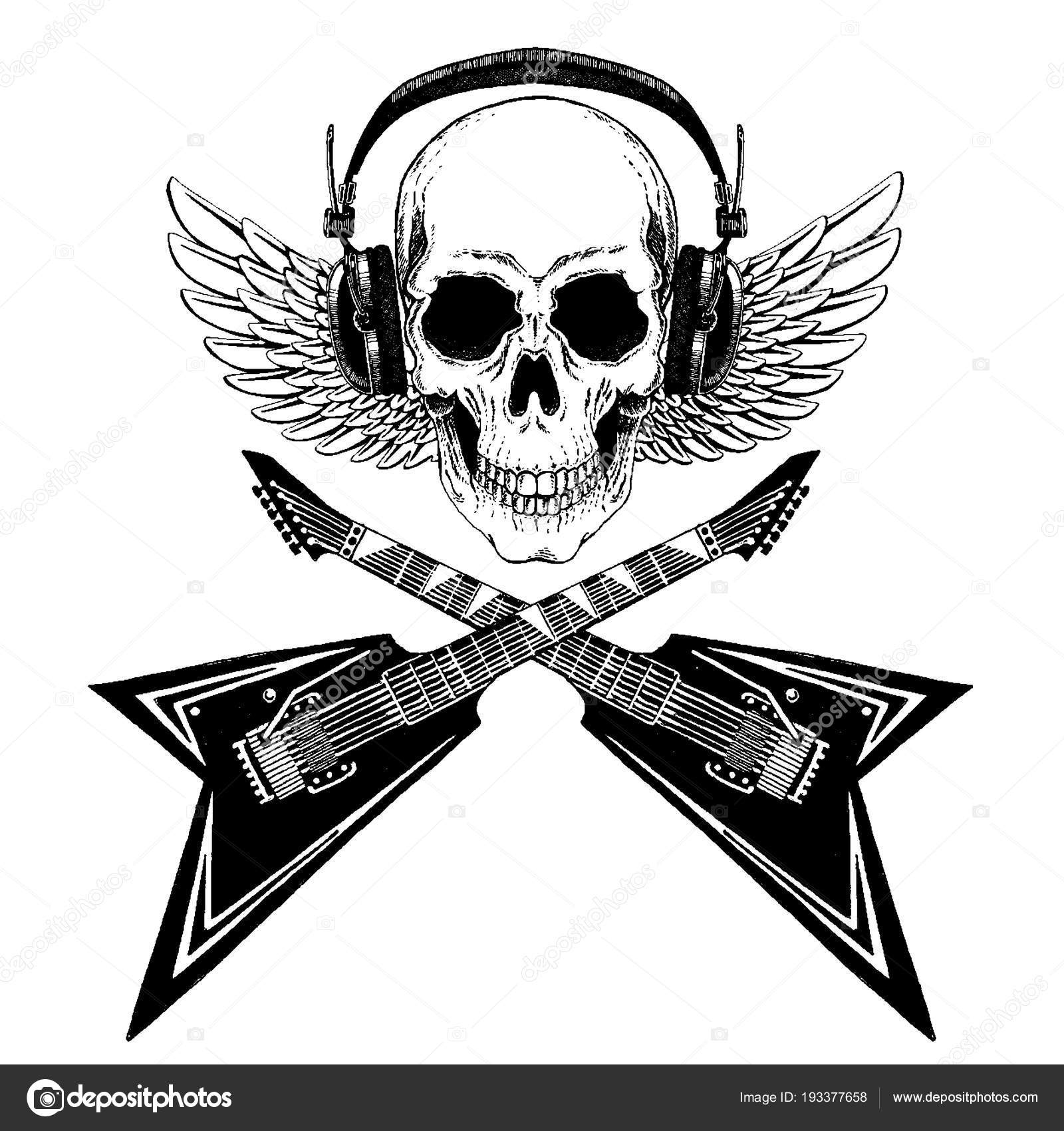 Cool Vector Rock Music Skull With Headphones For T Shirt