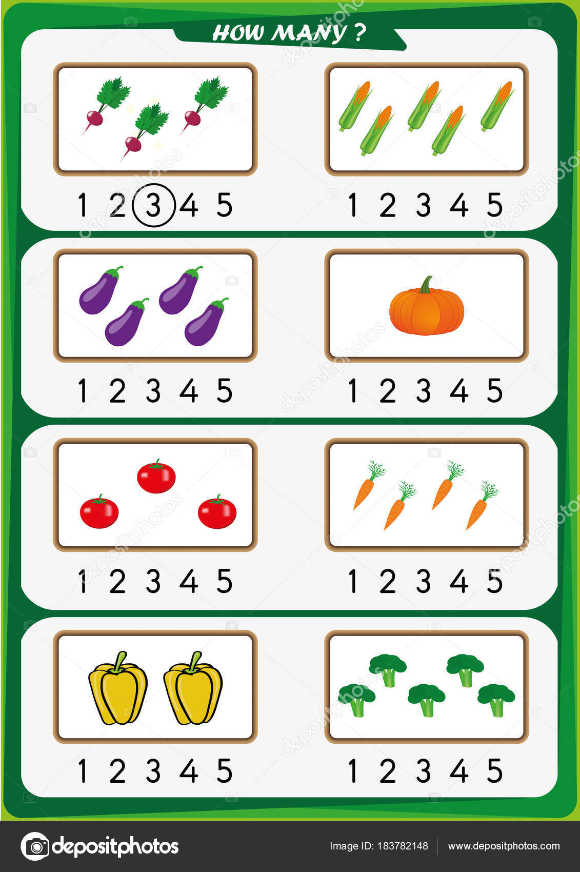 Worksheet Kindergarten Kids Learn Counting Number Stock