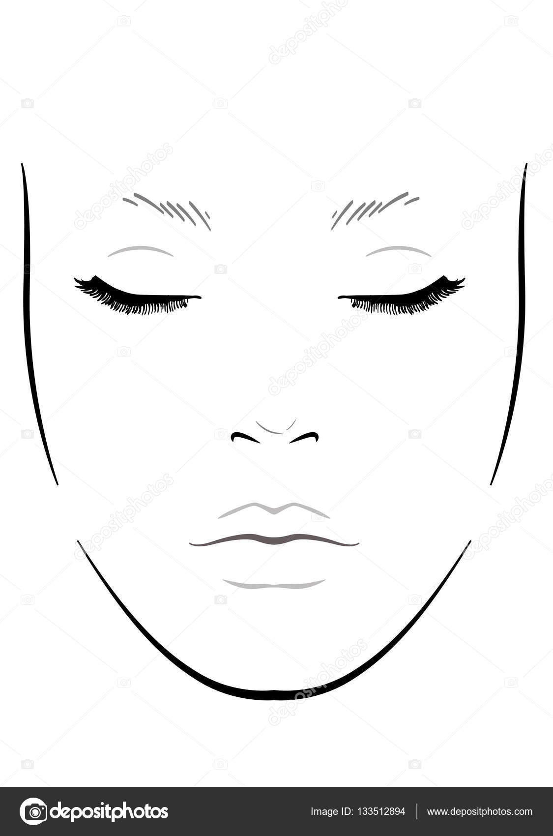 Face Chart Makeup Artist Blank Template Vector