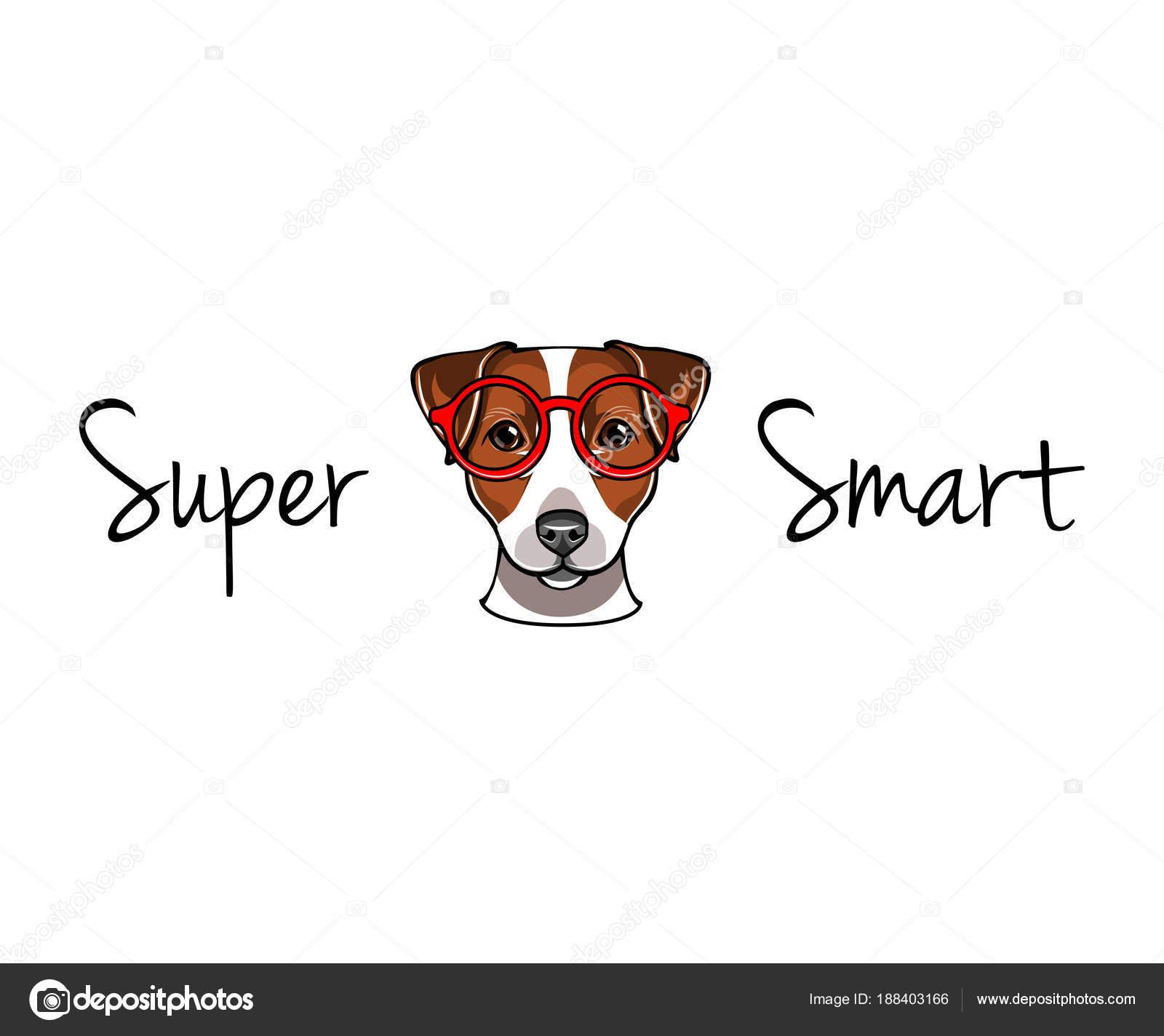 Jack Russell Terrier Em Copos Inteligentes Nerd Do Cao Ilustracao Vetorial