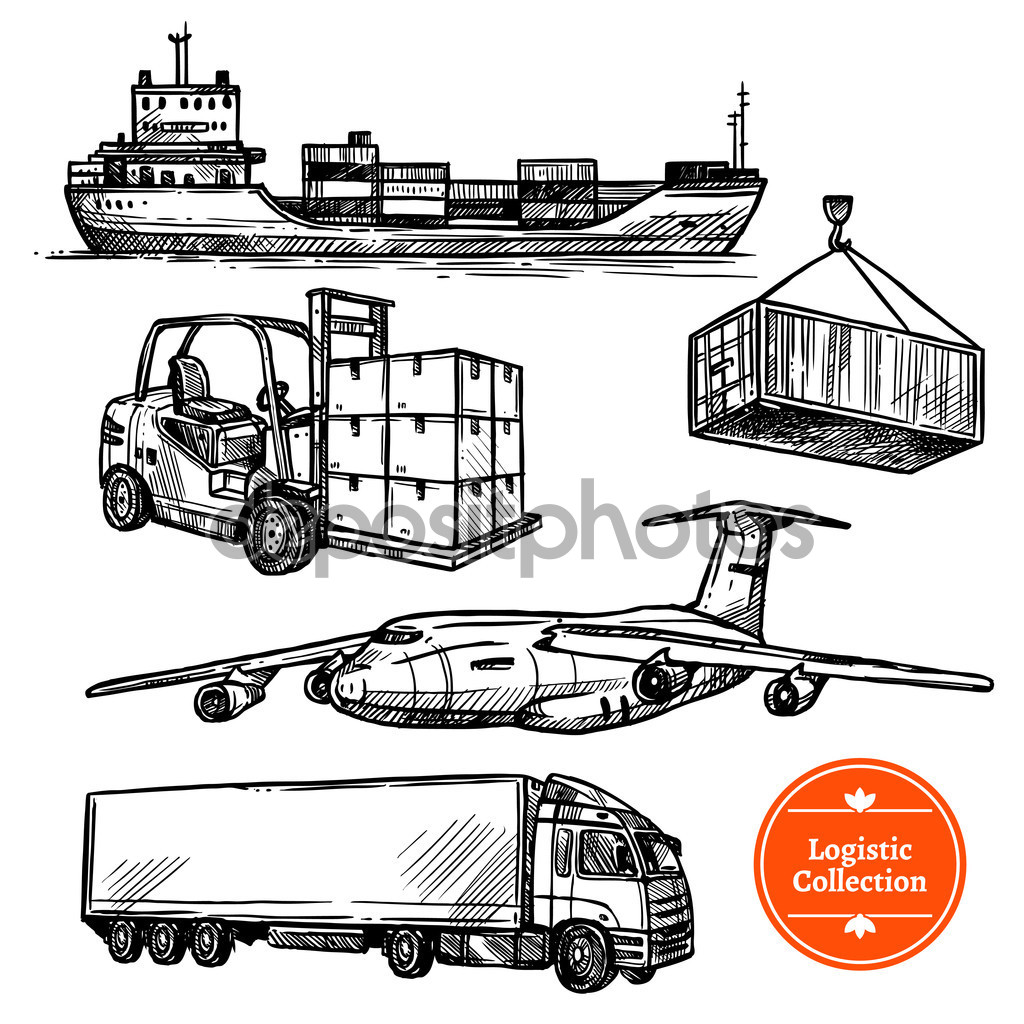 Hand Drawn Sketch Logistics Set