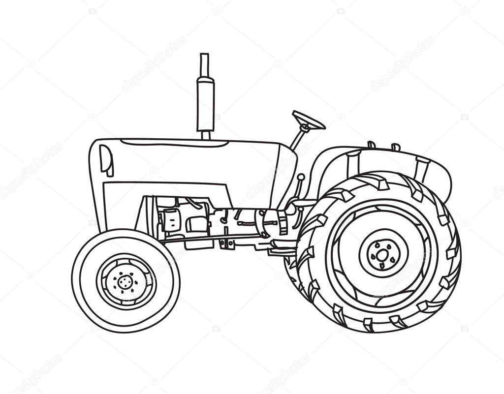 Alte Handgezeichneten Traktor Vintage Niedlich