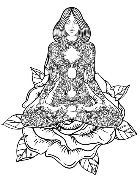 Yoga Meditating Cute Girl In Lotus Flower Isolated On
