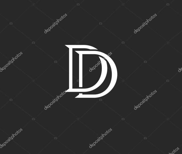 Letters Initials Dd Logo Monogram Weaving Lines Black And White Style Combination Two Letters D
