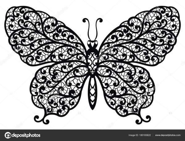 Картинка Бабочки Черно Белая