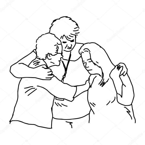Рисунки мать и дитя. Три человека, охватывающей утешить ...