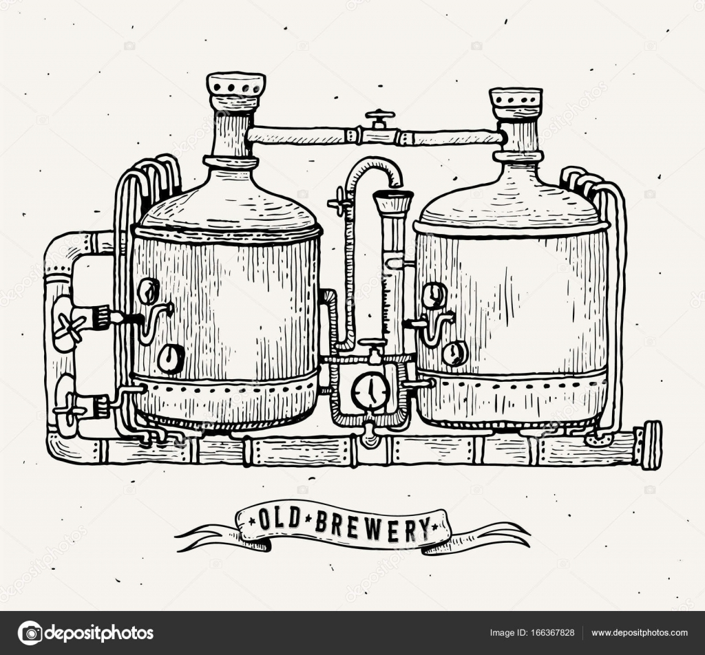 Retro Brewery Engraving Copper Tanks And Barrels In