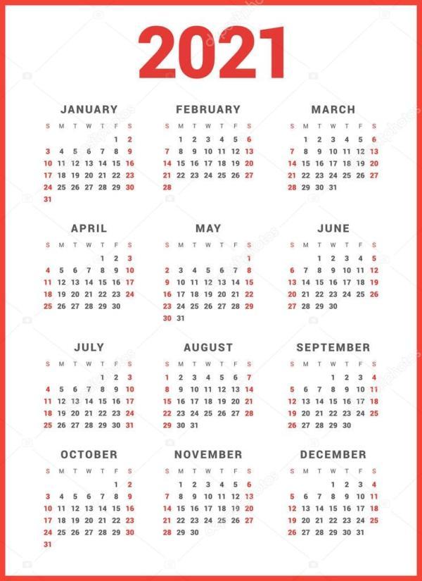 Календарь на 2021 год на белом фоне. Неделя начинается ...