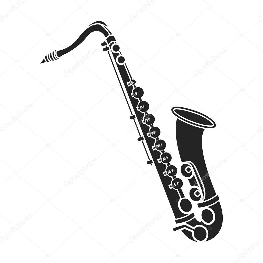 Saxophone Icon In Black Style Isolated On White Background