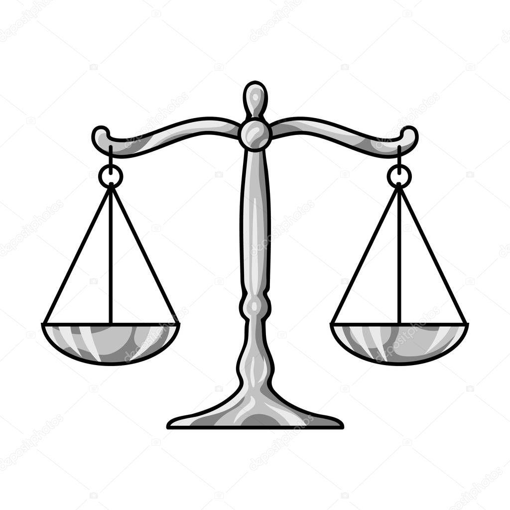 Weegschaal Voor Justitie Icon In Zwart Wit Stijl