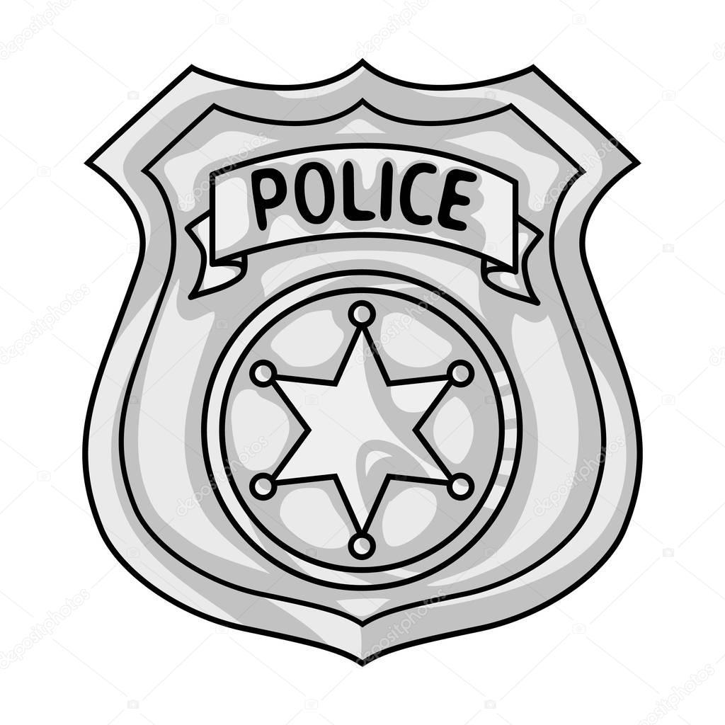 Icone De Distintivo De Policial No Estilo Monocromatico