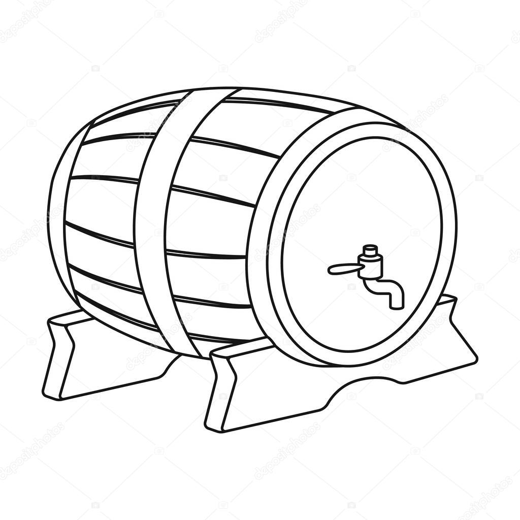 Beer Barrel Icon In Outline Style Isolated On White