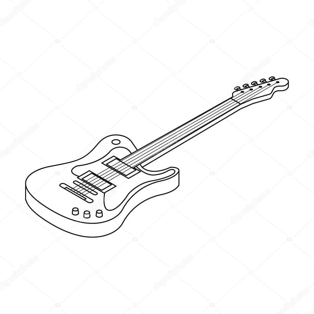 Guitarra Electrica Icono De Estilo De Contorno Aislado