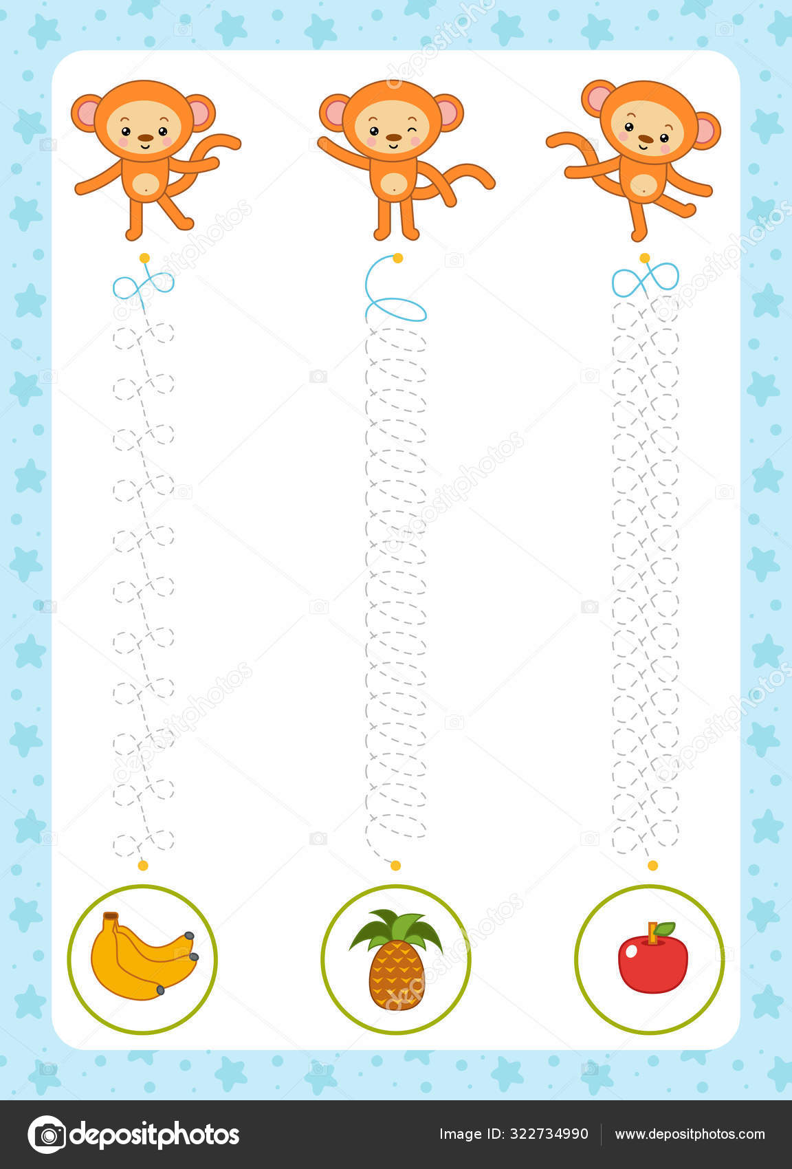 Trace The Dotted Lines From Monkeys To Fruits Connect The