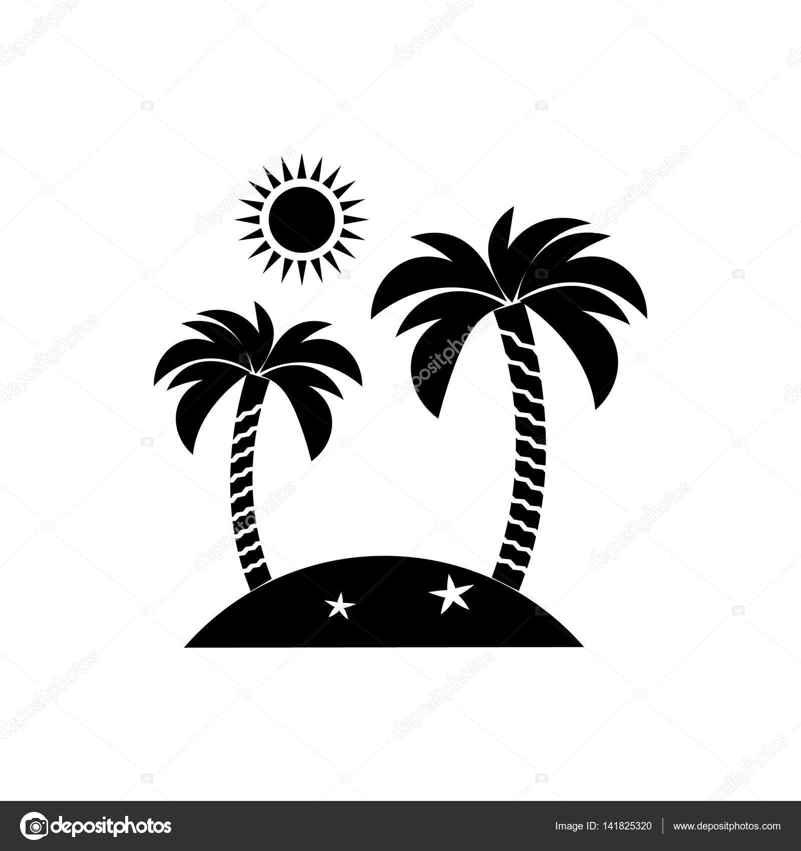Insel Symbol Reisen Tourismus Sonne Und Palmen Vektor