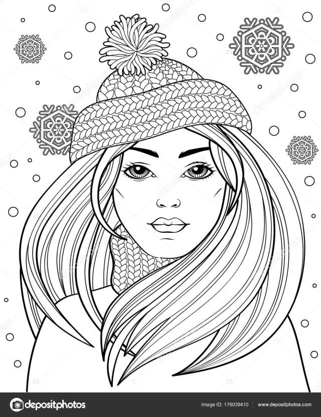 Young Beautiful Girl Long Hair Knitted Hat Tattoo Adult Antistress