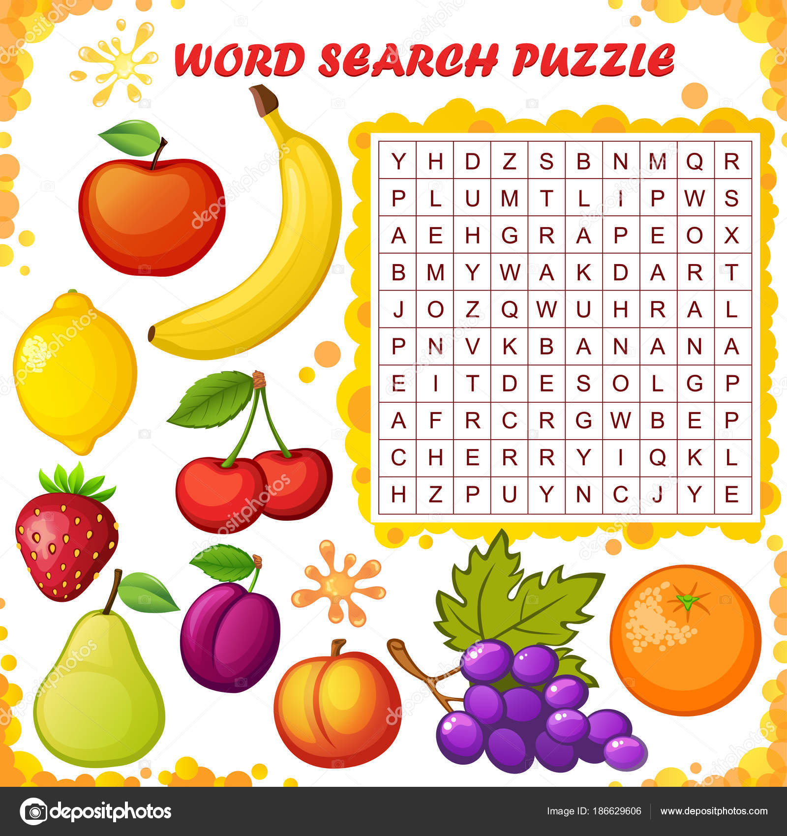 Word Search Puzzle Vector Education Game Children Fruits