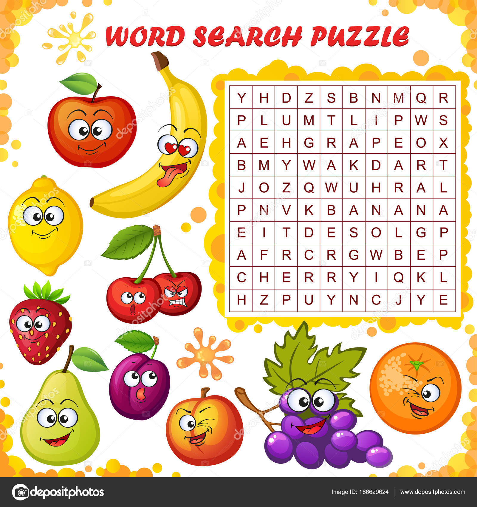 Word Search Puzzle Vector Education Game Children Cartoon