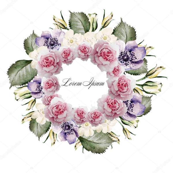 Красивая акварель из роз и цветка анемона. Венок для ...