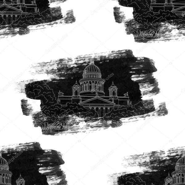 Исаакиевский собор, эскиз бесшовный фон — Векторное ...