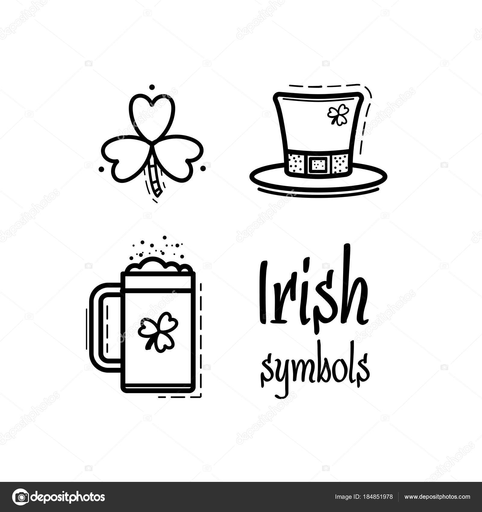 St Patricks Day Icon Set Design Element Traditional