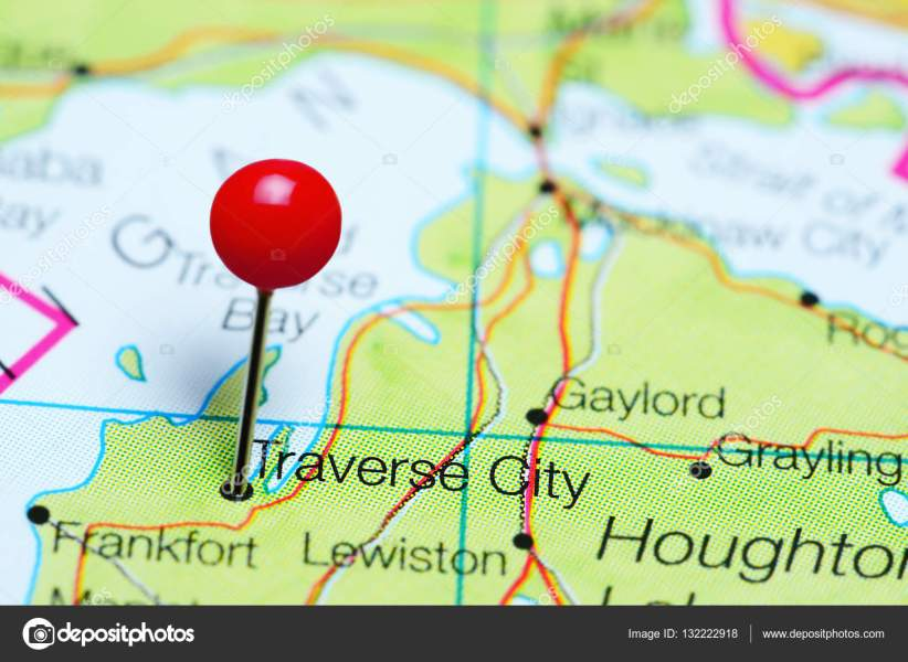 Traverse City pinned on a map of Michigan  USA     Stock Photo     Traverse City pinned on a map of Michigan  USA     Stock Photo