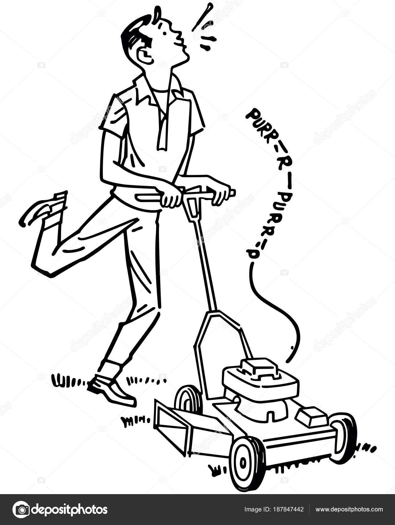 Happy Man Mowing Lawn