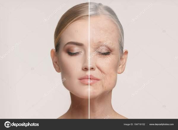 Сравнение. Портрет красивой женщины с проблемой и чистой ...