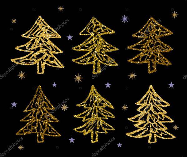 Золотой блеск Рождественские елки набор — Векторное ...