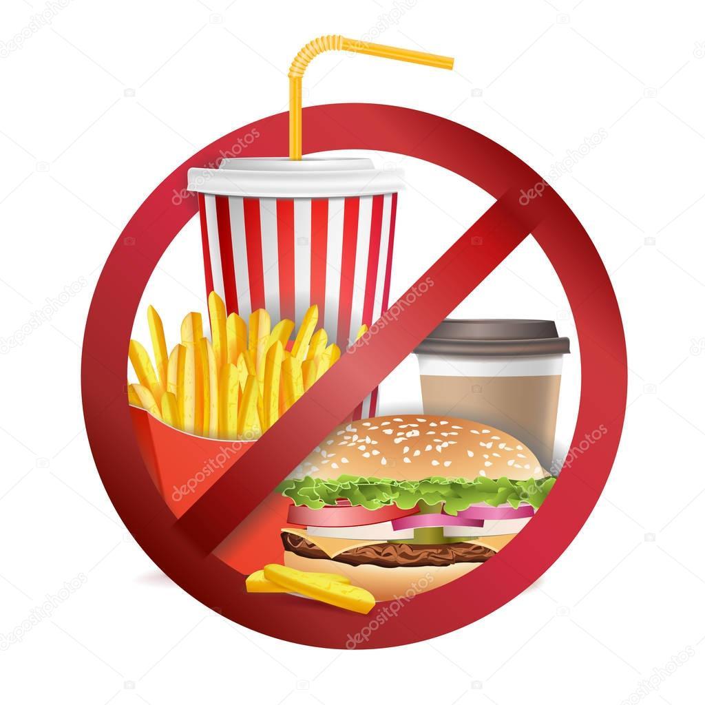Deje De Vector De Comida Rapida No Alimentos Ni Bebidas