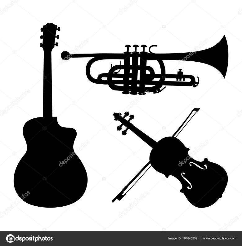 musical instruments silhouettes, guitar, trumpet and violin. black