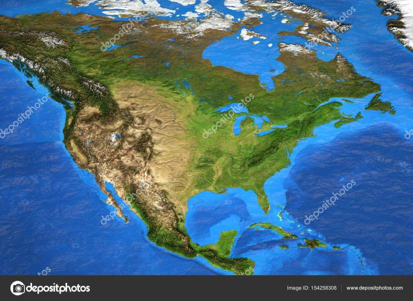 High resolution world map focused on North America     Stock Photo     Detailed satellite view of the Earth and its landforms in summer  North  America map  Elements of this image furnished by NASA     Photo by titoOnz