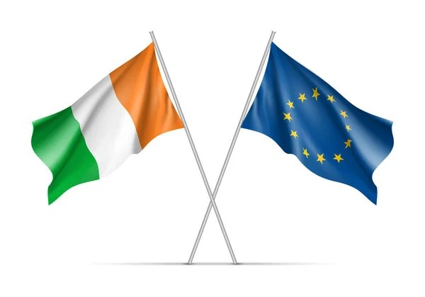 Republic of Ireland outline map and official colors over paper     Ireland and European Union waving flags